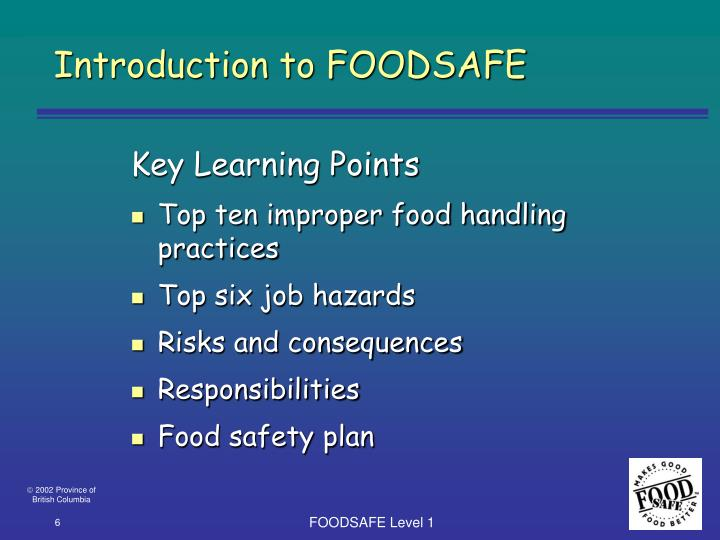 Introduction to FOODSAFE