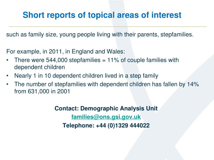 Short reports of topical areas of interest