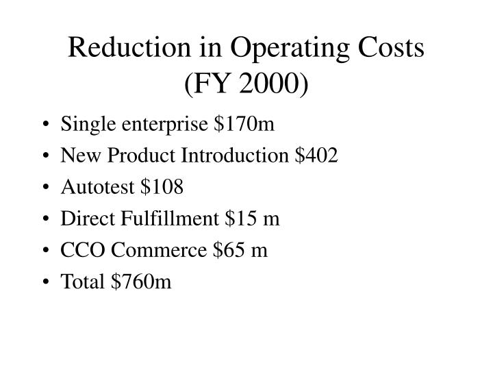 Reduction in Operating Costs (FY 2000)
