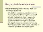 studying text based questions