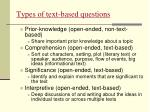 types of text based questions