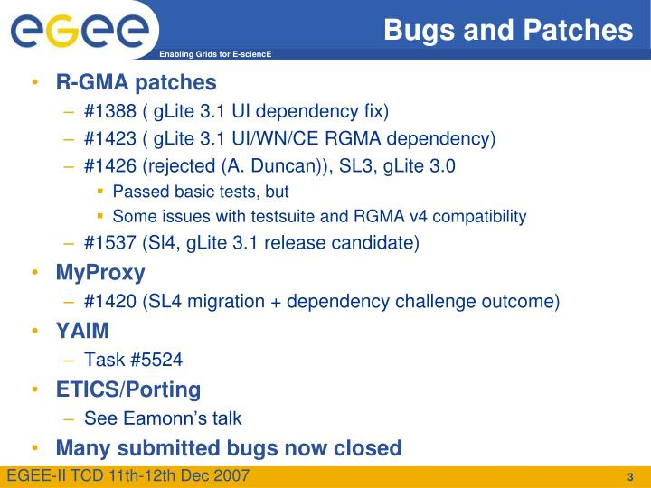 Bugs and patches