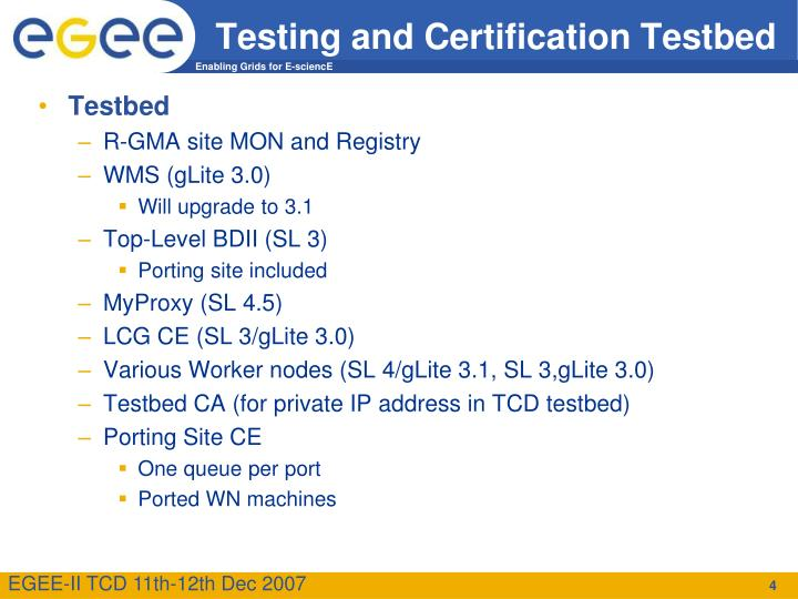 Testing and Certification Testbed
