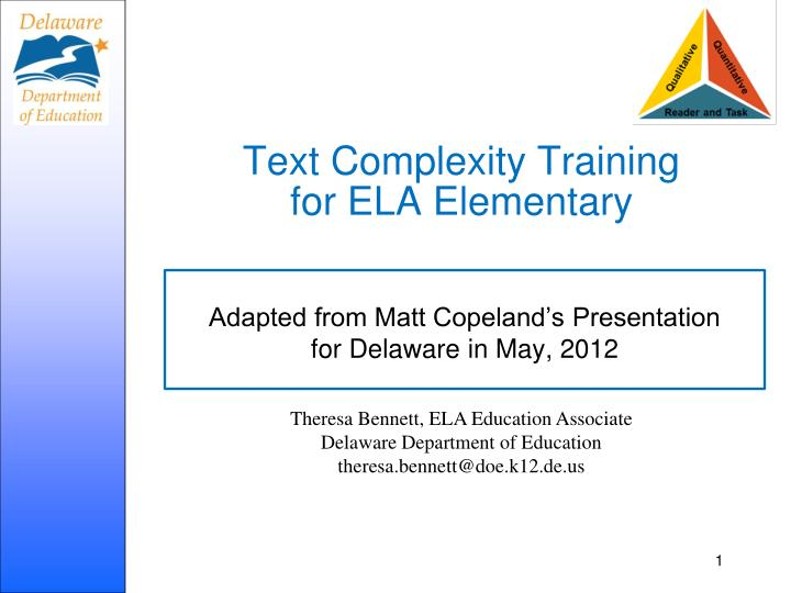 text complexity training for ela elementary n.