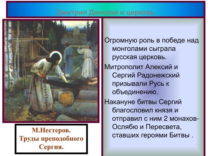 Дмитрий Донской и церковь