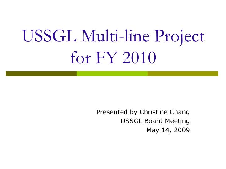 ussgl multi line project for fy 2010 n.