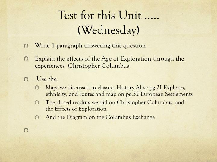 Test for this Unit …..