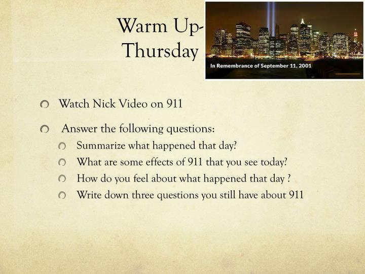 Warm Up- 9/11