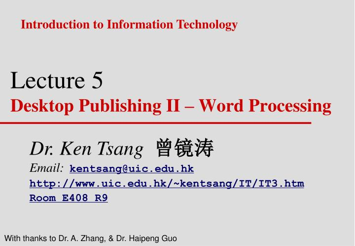 lecture 5 desktop publishing ii word processing n.