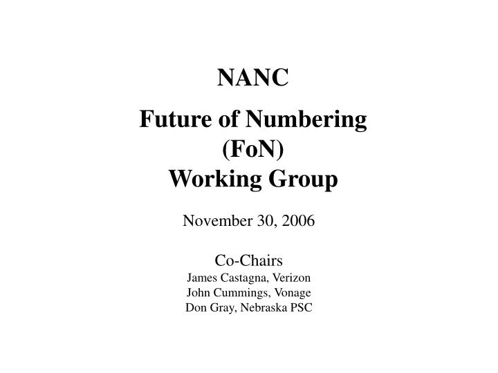 nanc future of numbering fon working group n.