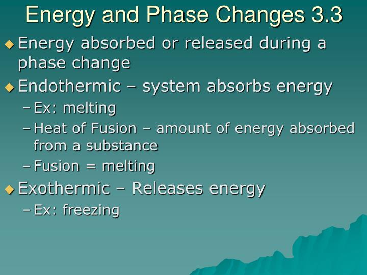Energy and Phase Changes 3.3