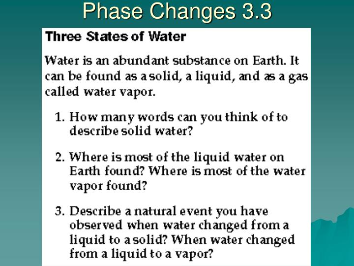 Phase Changes 3.3