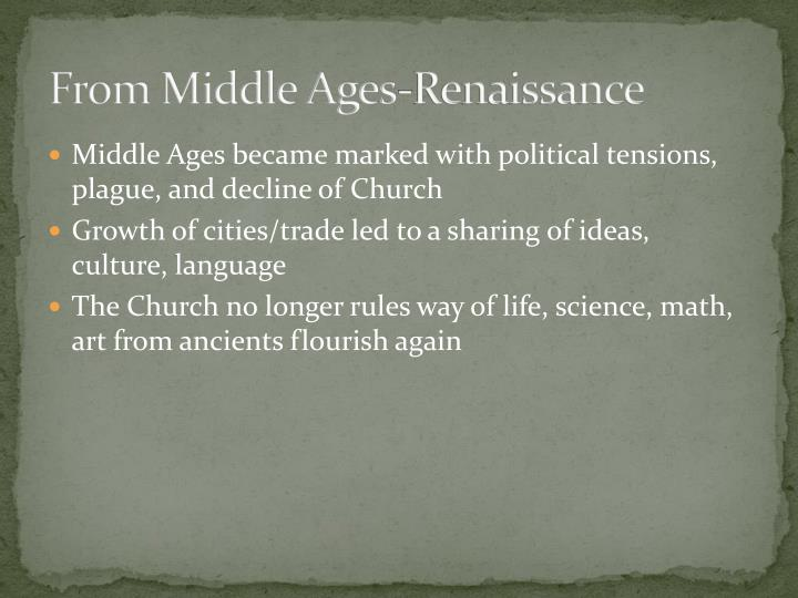 From middle ages renaissance