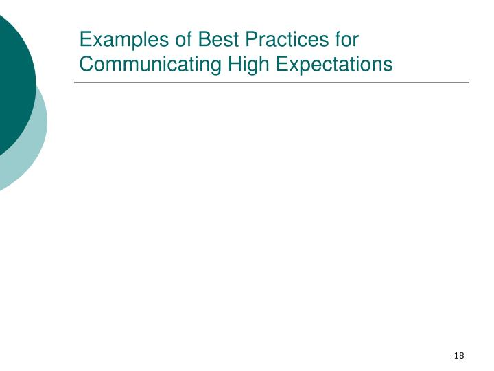 Examples of Best Practices for Communicating High Expectations