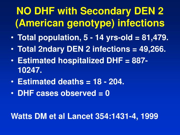 NO DHF with Secondary DEN 2 (American genotype) infections