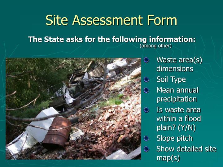 Site assessment form