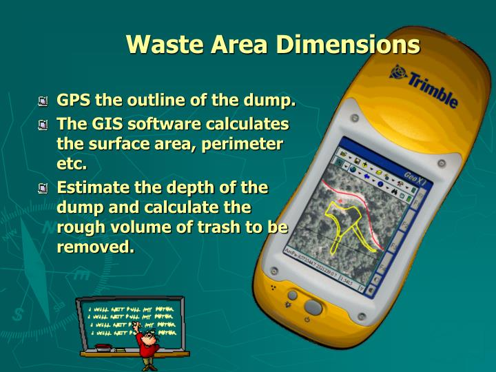 Waste area dimensions