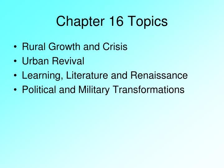 Chapter 16 topics