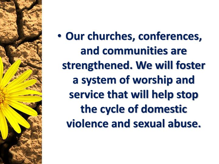 Our churches, conferences, and communities are strengthened. We will foster a system of worship and service that will help stop the cycle of domestic violence and sexual abuse.