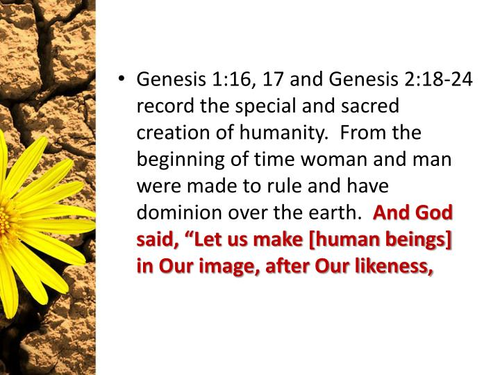 Genesis 1:16, 17 and Genesis 2:18-24 record the special and sacred creation of humanity.  From the b...
