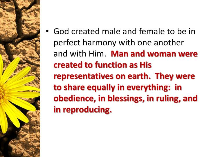 God created male and female to be in perfect harmony with one another and with Him.