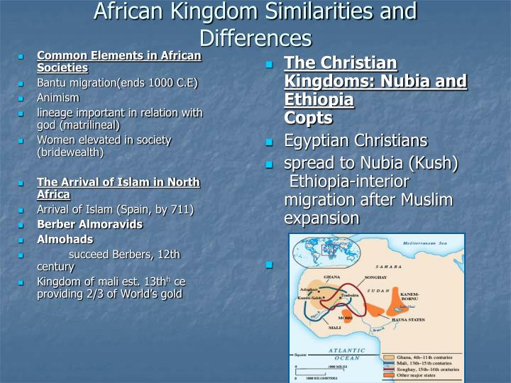 African kingdom similarities and differences