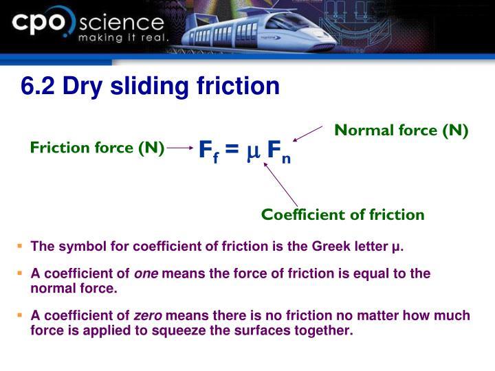 6.2 Dry sliding friction