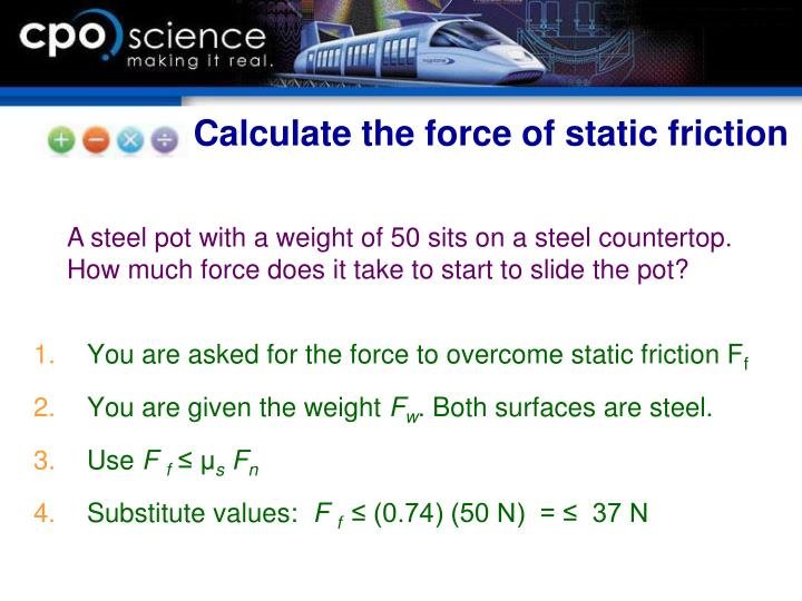 Calculate the force of static friction