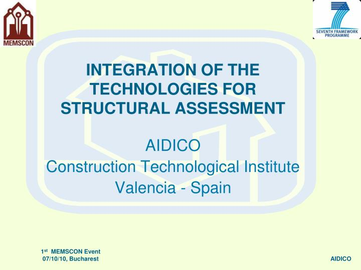 integration of the technologies for structural assessment n.