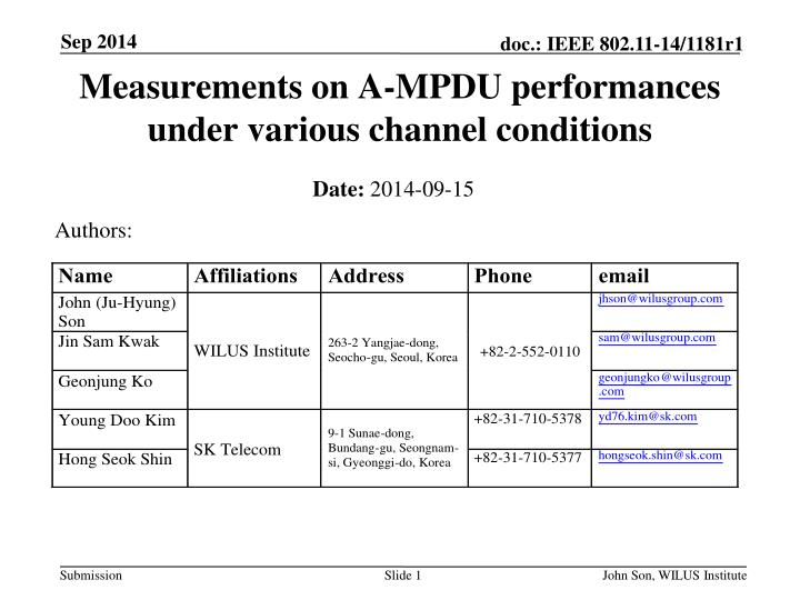 measurements on a mpdu performances under various channel conditions n.