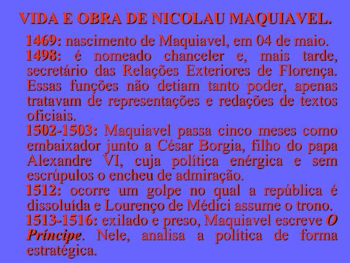 VIDA E OBRA DE NICOLAU MAQUIAVEL.