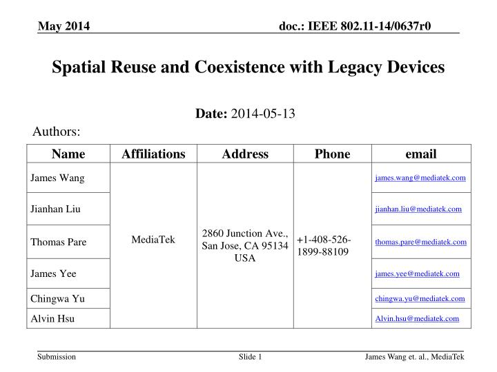 spatial reuse and coexistence with legacy devices n.