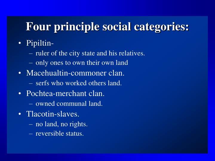 Four principle social categories: