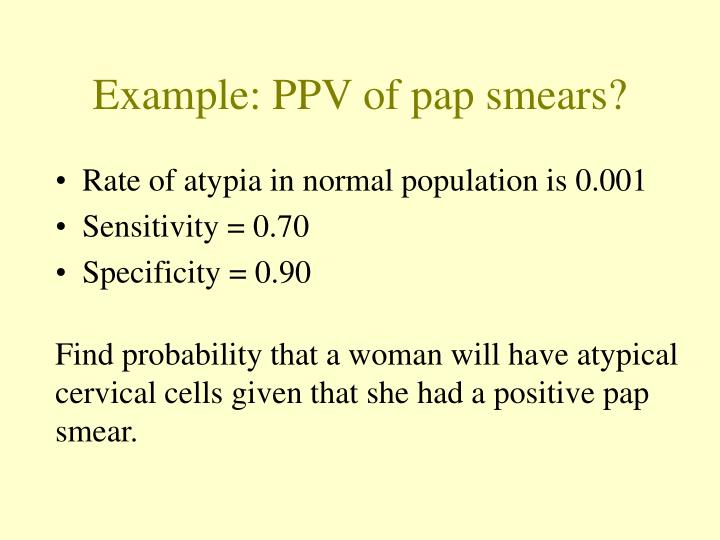 Example: PPV of pap smears?