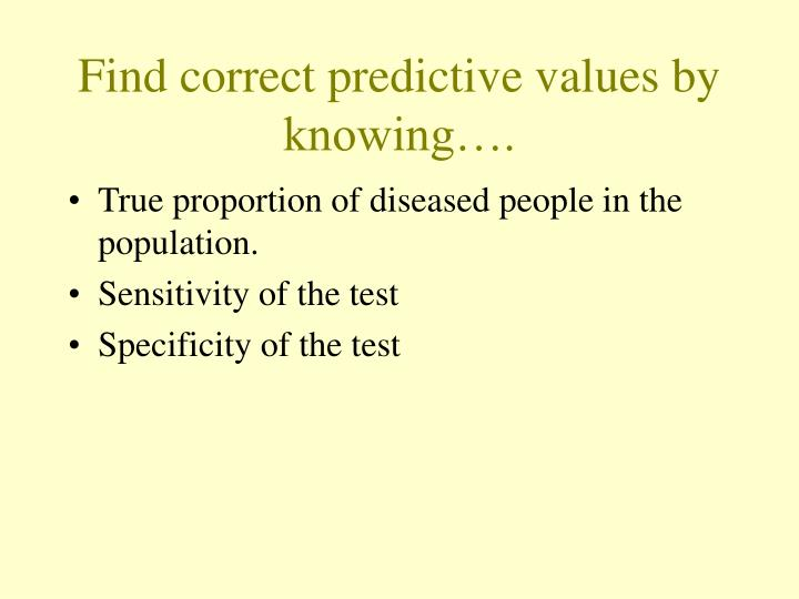 Find correct predictive values by knowing….