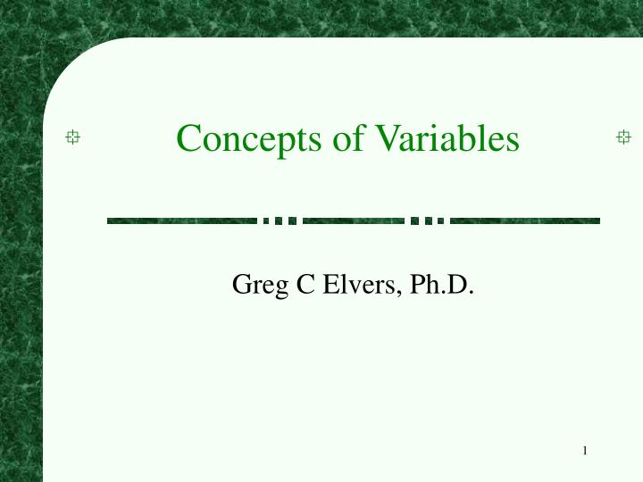 concepts of variables n.