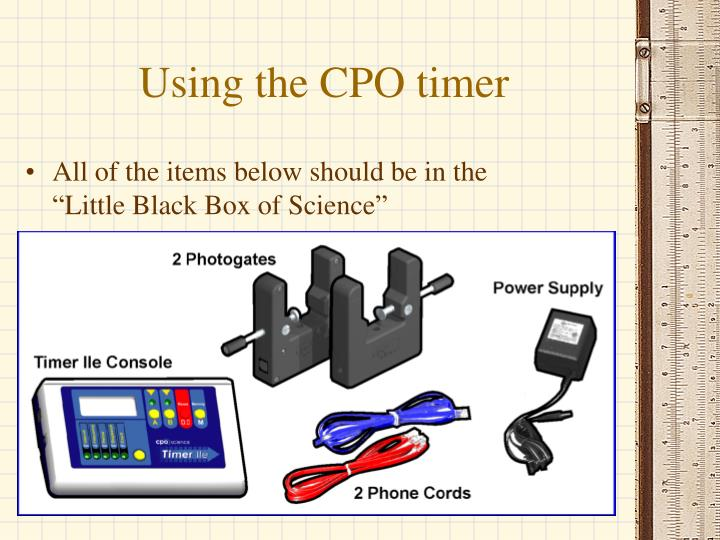 using the cpo timer n.