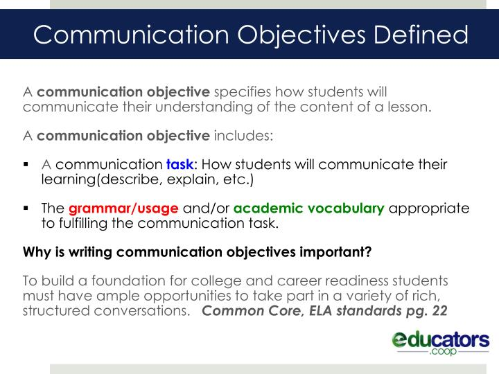 Communication objectives defined
