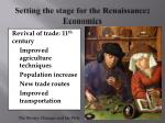 setting the stage for the renaissance economics