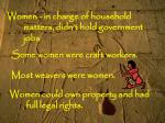 women in charge of household matters didn t hold government jobs