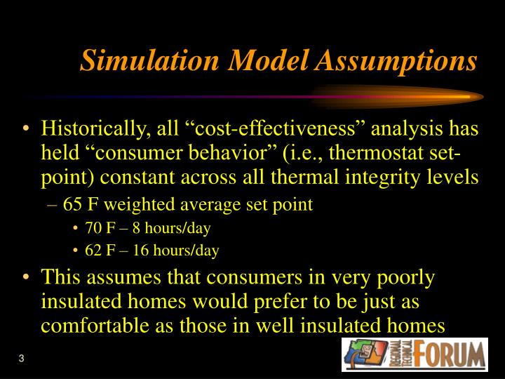 Simulation model assumptions
