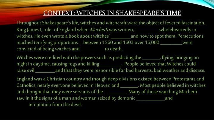 Context witches in shakespeare s time