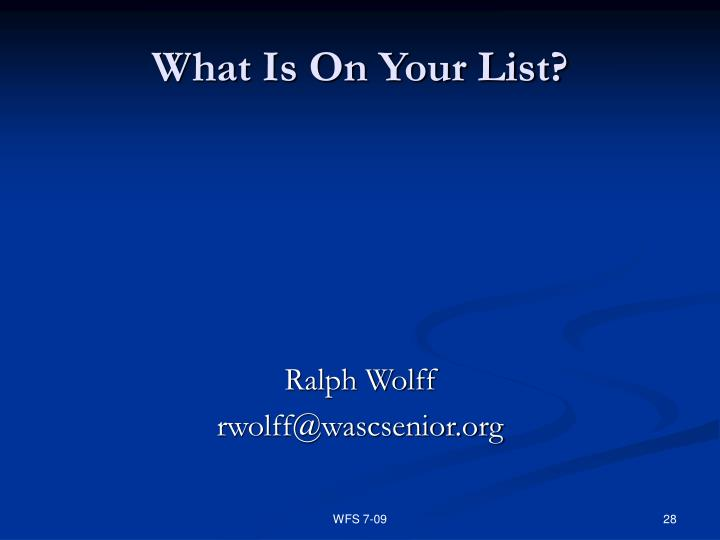 What Is On Your List?