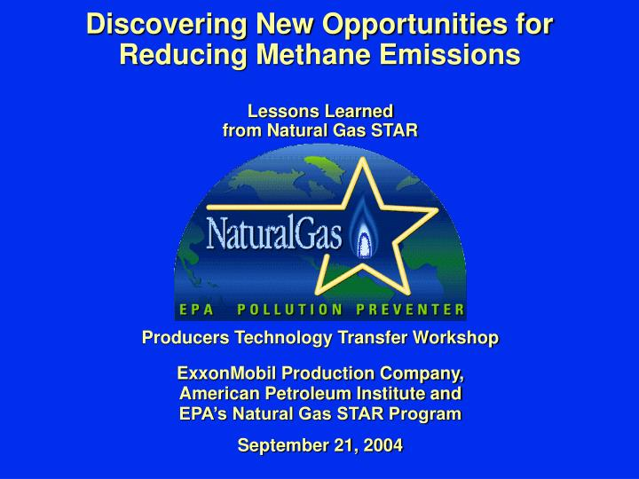 discovering new opportunities for reducing methane emissions n.