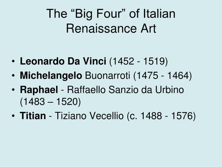 "The ""Big Four"" of Italian Renaissance Art"