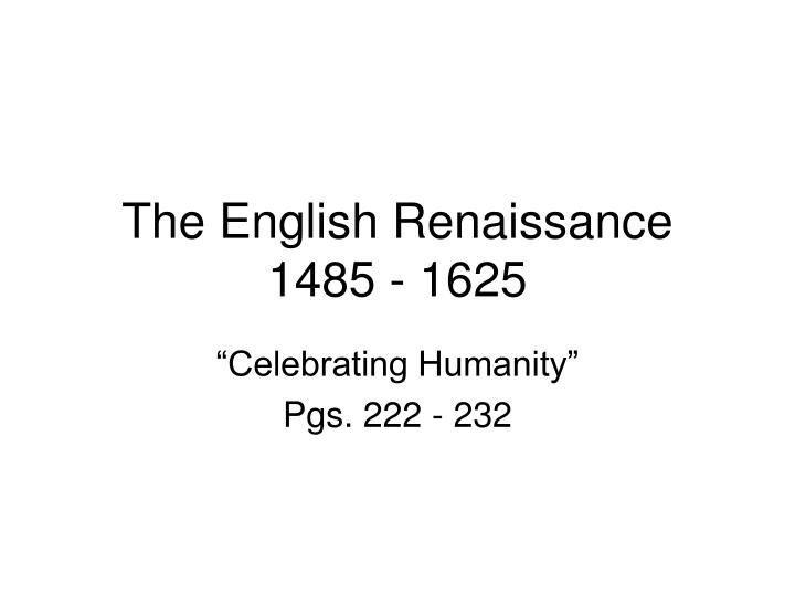 the english renaissance 1485 1625 n.