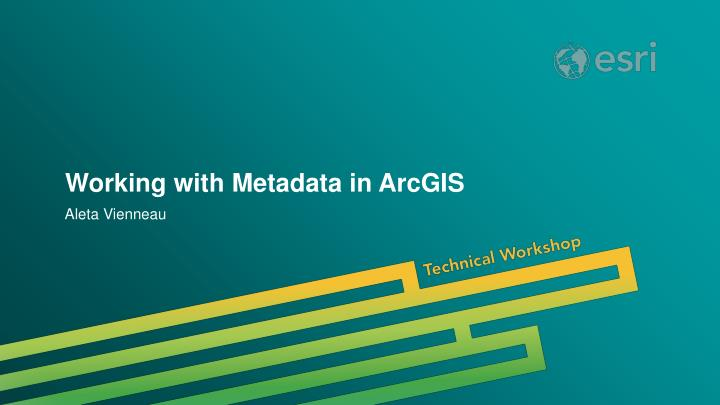 working with metadata in arcgis n.