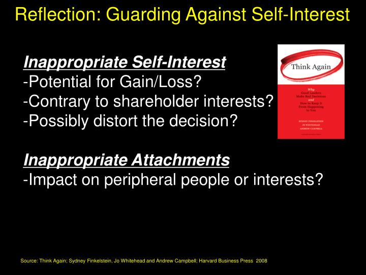Reflection: Guarding Against Self-Interest