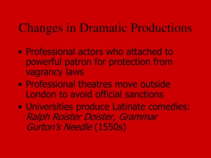Changes in Dramatic Productions