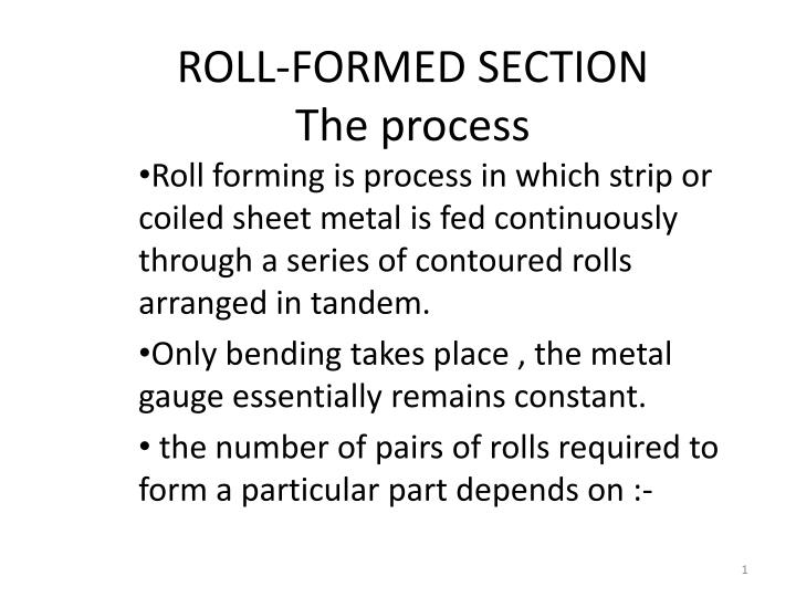 roll formed section the process n.